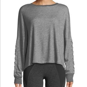 Beyond Yoga Lasso Lace Up Draped Gray Sweatshirt